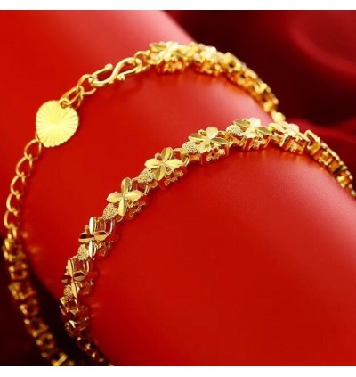 Emas Korea 24k Gold Plated Clover Design Ladies Bracelet