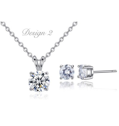 Silver Plated Zirconia Diamond Necklace  & Earrings Set-Free Box