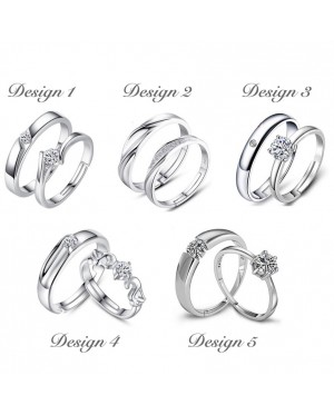 Adjustable Size Couple Rings with Free Box