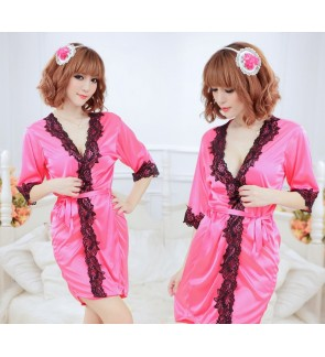 Lace Silky Robe Sleepwear With Free Undergarment
