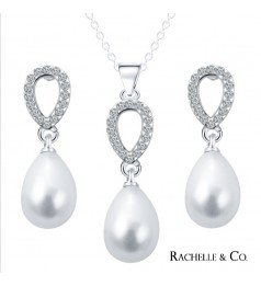Rachelle & Co Pearl Necklace & Earring Set ( Design 3)