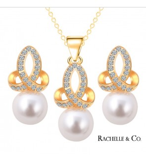 Rachelle & Co Pearl Necklace & Earring Set ( Design 4)