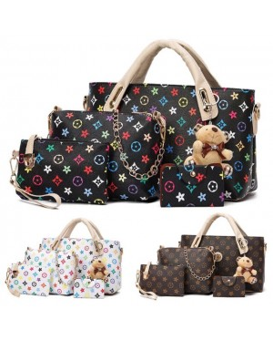 【Free Bear】4 in 1 Flower Design PU Leather Handcarry and Sling Bag set