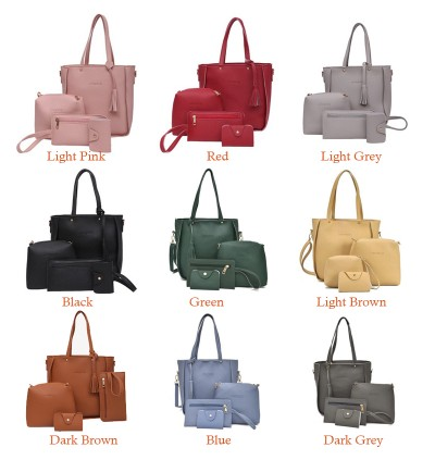 TonyaMall Ladies 4 in 1 PU Leather Bag Set