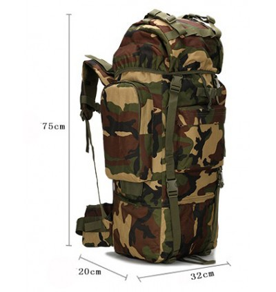65L Army Tactical Molle Backpack with Back Support and Rain Cover