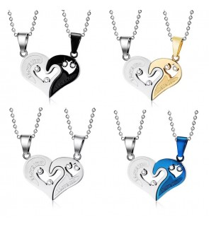 TonyaMall Stainless Steel Couple Necklace Set