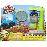 HASBRO Play-Doh Wheels Crane & Forklift Construction Toys with Non-Toxic 2 Colors Cement Building For Kids