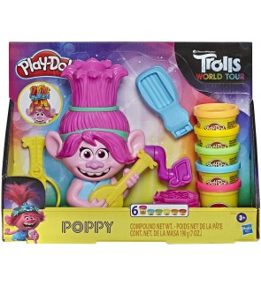HASBRO Play-Doh Trolls World Tour Rainbow Hair Poppy Styling Toy Playset For Boys and Girls