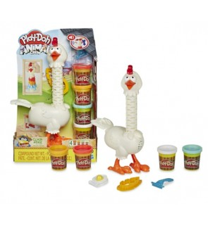 Hasbro Play-Doh Animal Crew Cluck-a-Dee Feather Fun Chicken Farm Animal Playset
