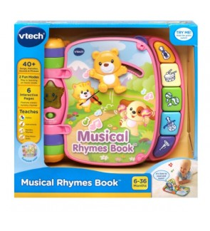 VTech Musical Rhymes Book (Pink) Baby Toys for Girls Early Learning Toys