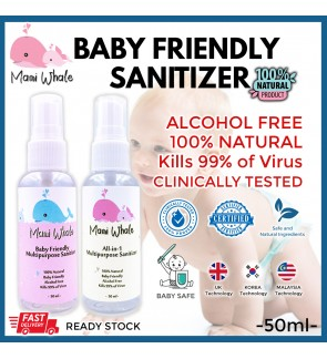 Baby Friendly Hand Sanitizer Alcohol Free Certified Safe All In 1 Multipurpose - 50ml