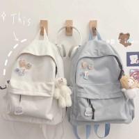 TonyaMall Plain School Bag Backpack Ulzzang Boys and Girls Backpack