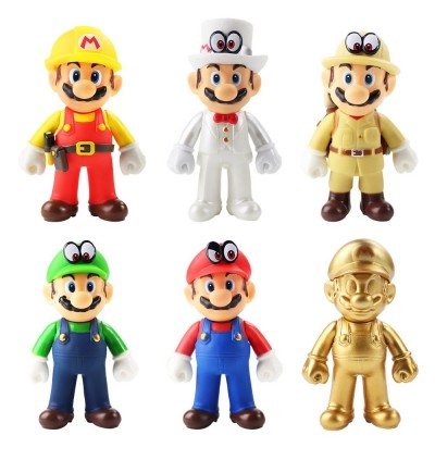 Super Mario Collectible Figure Toys 12cm Tall Movable Hand Toys Figure
