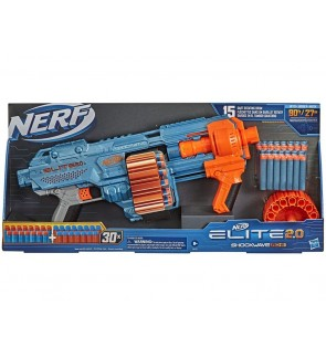 Hasbro NERF Elite 2.0 Shockwave RD-15 Blaster, 30 Darts, 15-Dart Rotating Drum, Pump-Action