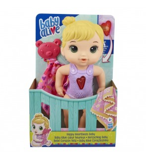 Hasbro Baby Alive Happy Heartbeats Baby Doll, Responds to Play with 10+ Sounds and Blinking Heart 5.0