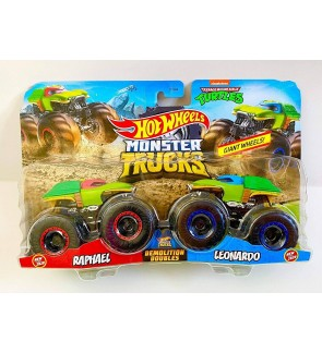 Hot Wheels Monster Trucks 1:64 Demolition Ninja Turtles Raphael VS Leonardo