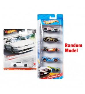 Mattel Hot Wheels Bundle 5+1 - Nissan Silvia (S14) + 5-Car-Pack (assorted)