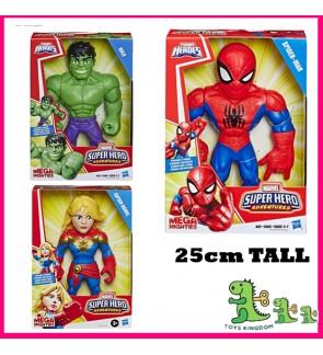 """Playskool Marvel Super Hero Spiderman Hulk Captain Marvel Adventures Mega Mighties 10"""" Action Figure"""