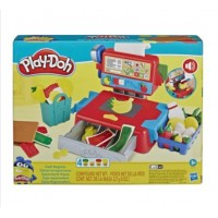 Play-Doh Cash Register Toy with Fun Sounds, Play Food Accessories, and 4 Non-Toxic Colors