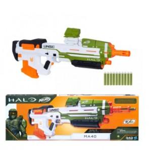 NERF Halo MA40 Motorized Dart Blaster, Includes Removable 10-Dart Clip