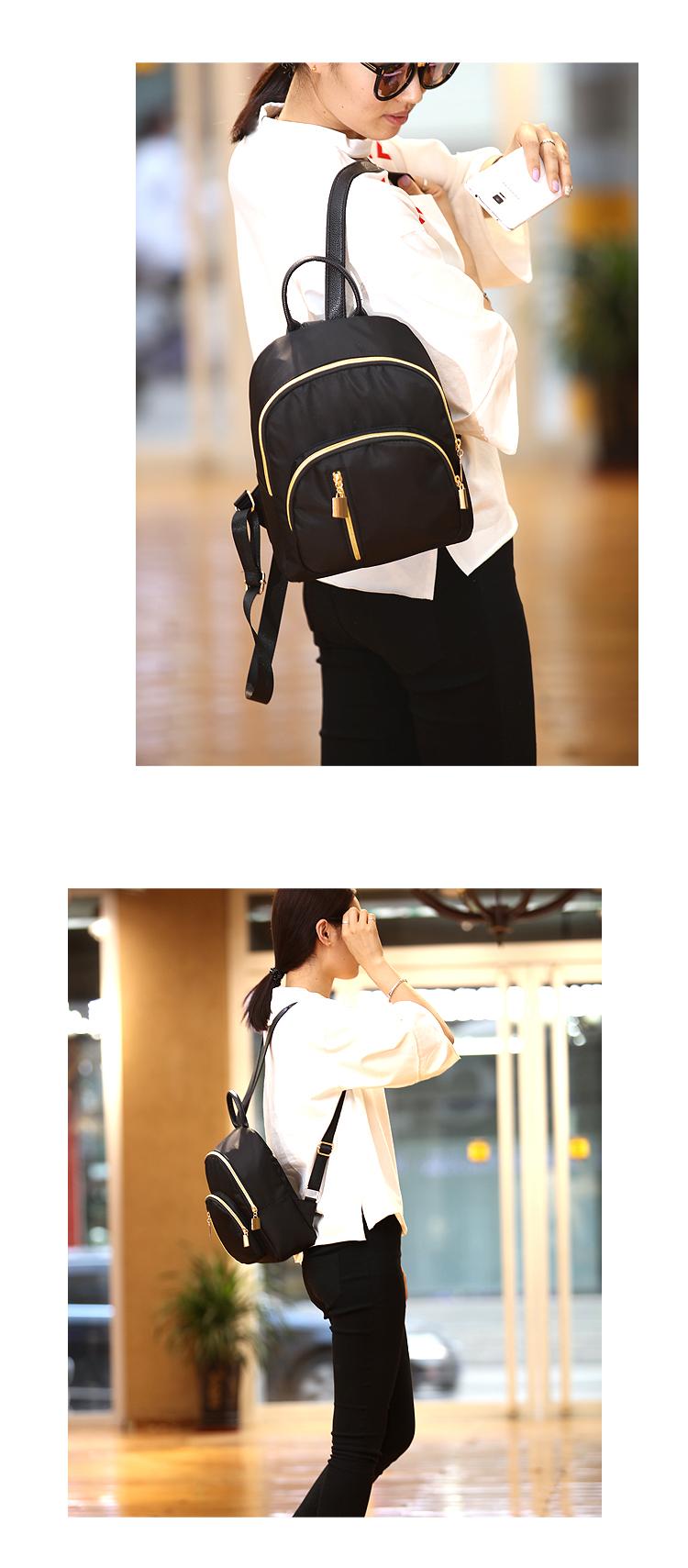 Elegant Black Small Light Weight Ladies Backpack