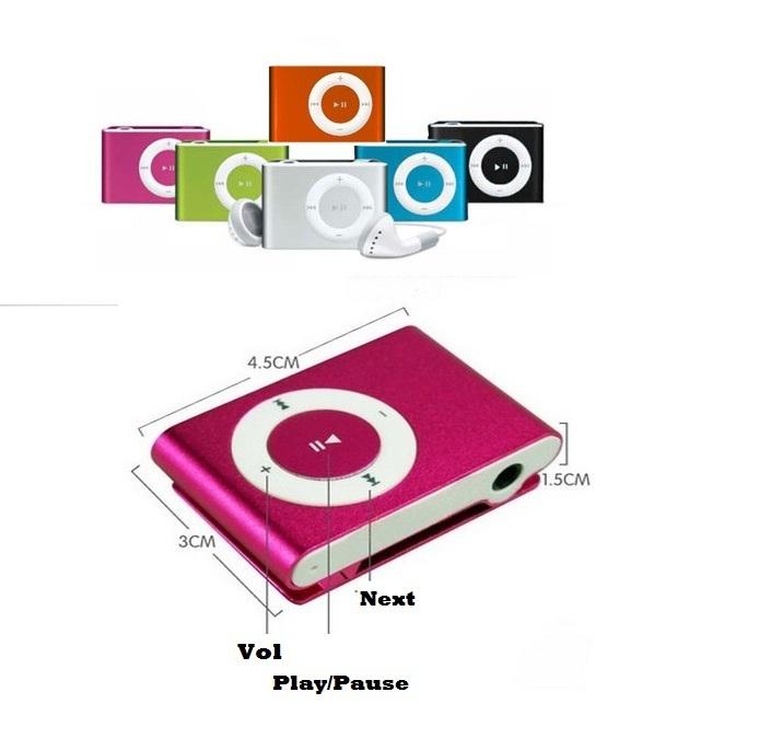 Mini Clip MP3 Player Free Earphone
