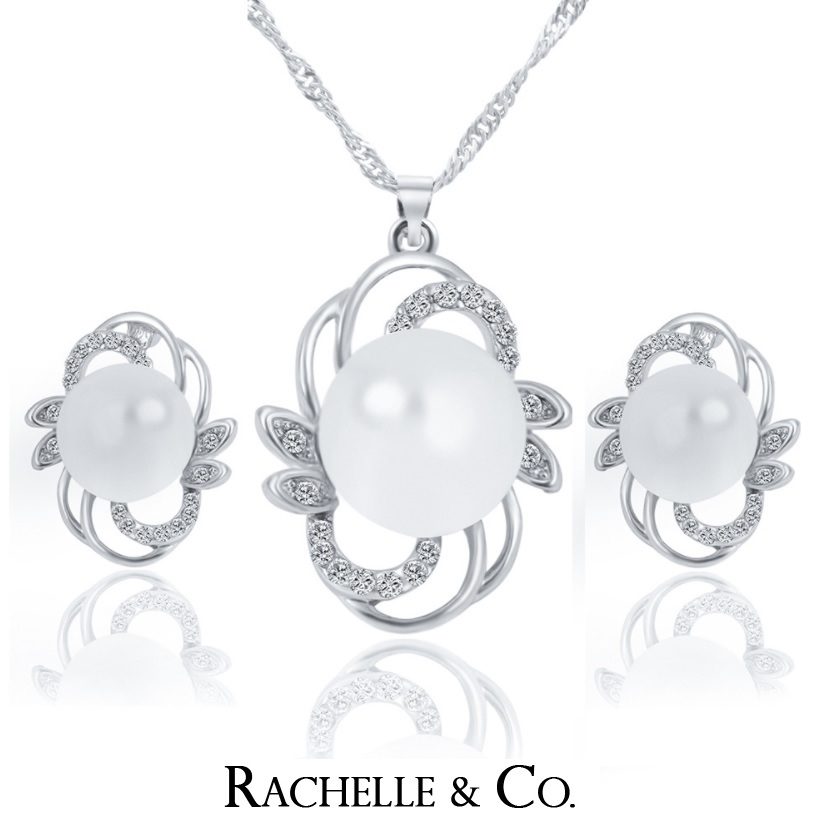 Rachelle & Co Pearl Necklace & Earring Set (Design 2)